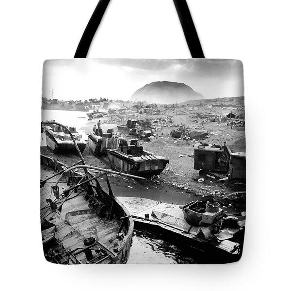 Iwo Jima Beach Tote Bag by War Is Hell Store