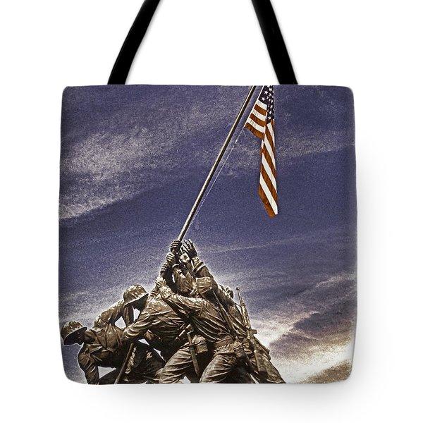 Iwo Jima Flag Raising Tote Bag by Dennis Cox