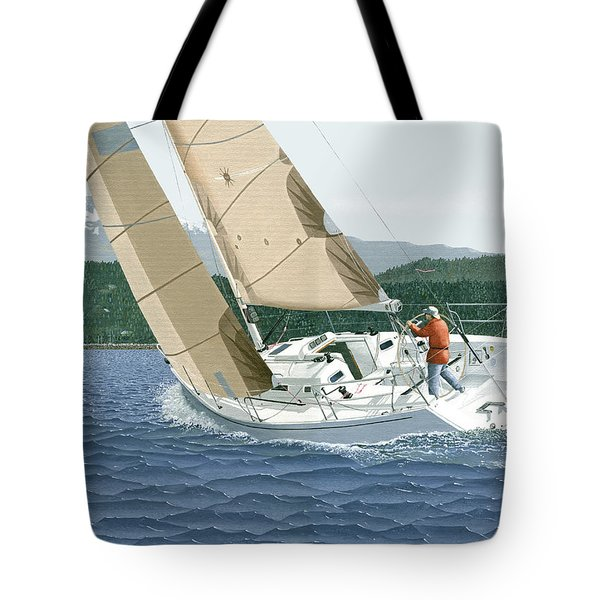 J-109 Sailboat Off Comox B.c. Tote Bag