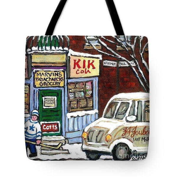 J J Joubert Vintage Milk Truck At Marvin's Grocery Montreal Memories Street Hockey Best Hockey Art Tote Bag