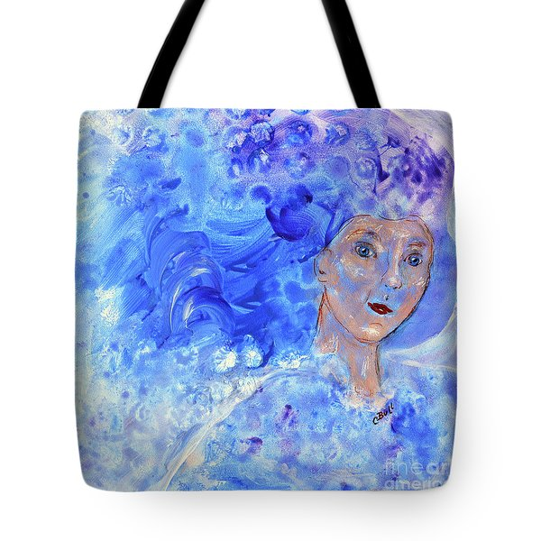 Tote Bag featuring the painting Jack Frost's Girl by Claire Bull