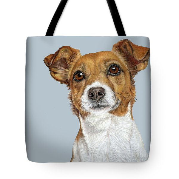 Tote Bag featuring the drawing Jack Russell Terrier by Donna Mulley