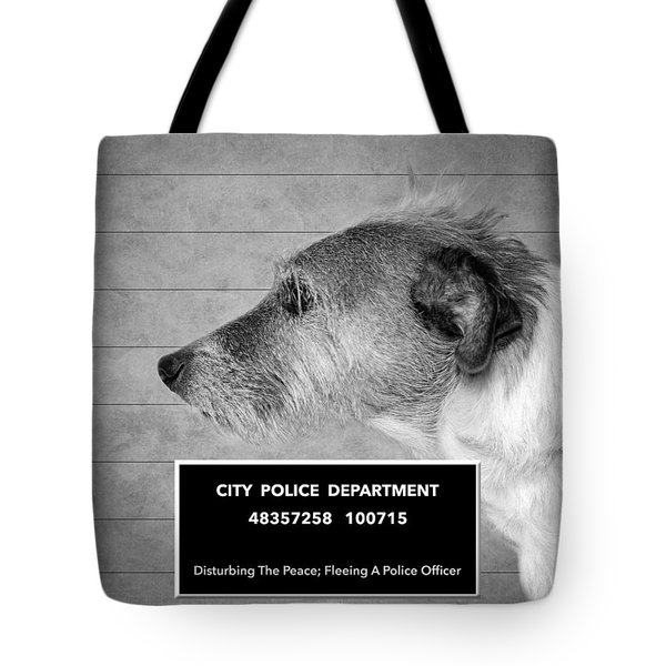 Jack Russell Terrier Mugshot - Dog Art - Black And White Tote Bag by SharaLee Art