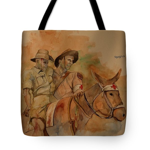 Tote Bag featuring the painting Jack Simpson And Duffy by Ray Agius