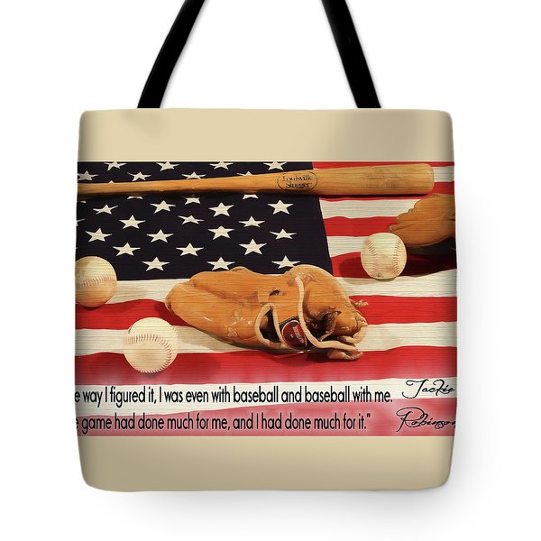 Jackie Robinson Baseball Quote Tote Bag by Dan Sproul