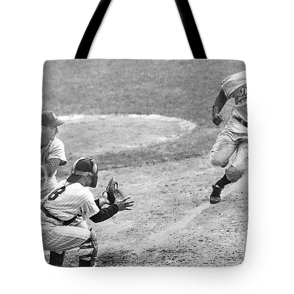Jackie Robinson Stealing Home Yogi Berra Catcher In 1st Game 1955 World Series Tote Bag