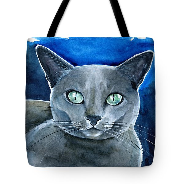 Jackpot - Russian Blue Cat Painting Tote Bag