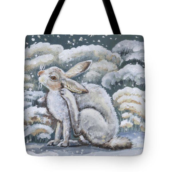 Jackrabbit And Horned Larks Tote Bag by Dawn Senior-Trask