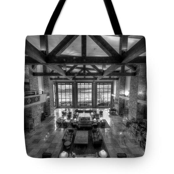Jackson Lake Lodge Grand Tetons B W Tote Bag