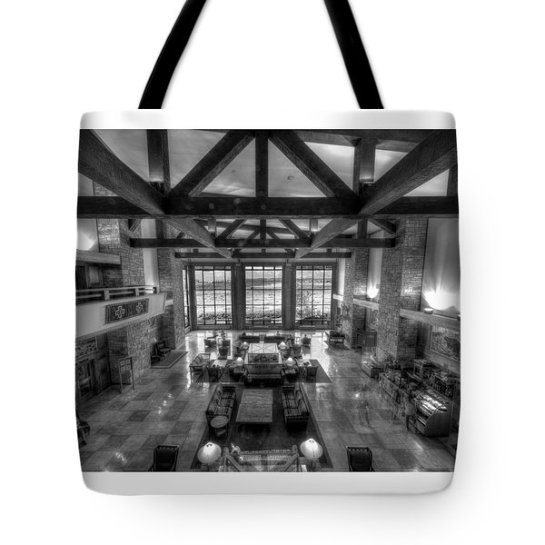 Jackson Lake Lodge Grand Tetons B W Tote Bag