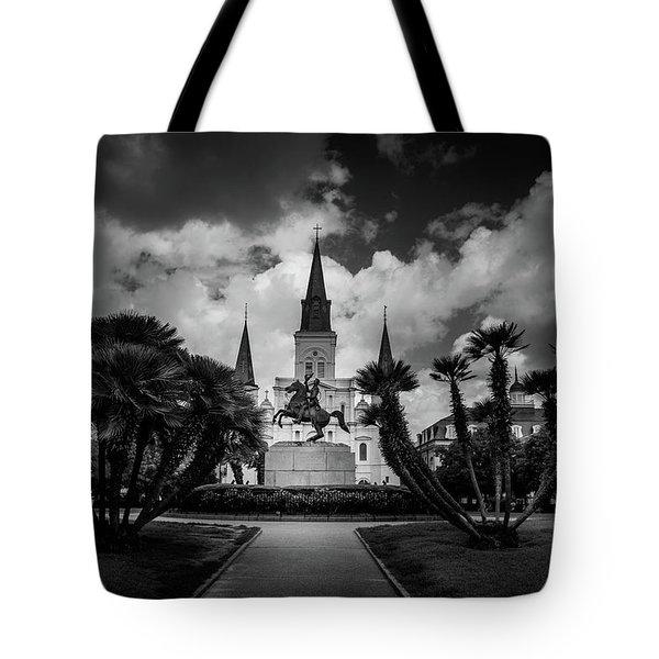 Jackson Square Sunrise In Black And White Tote Bag
