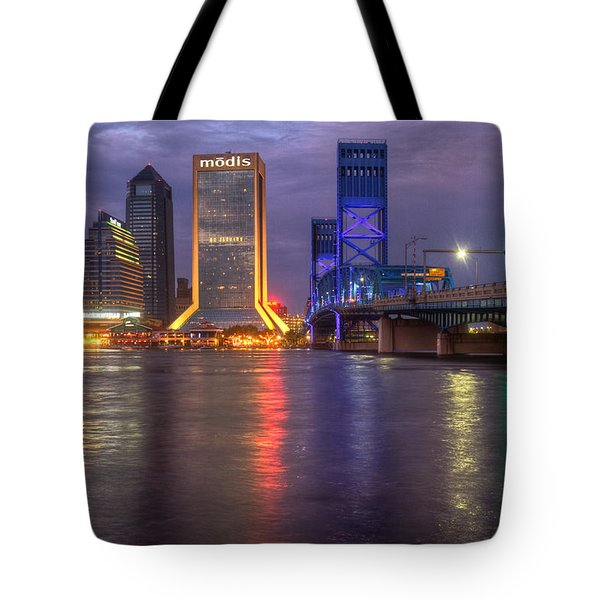 Jacksonville At Dusk Tote Bag by Debra and Dave Vanderlaan