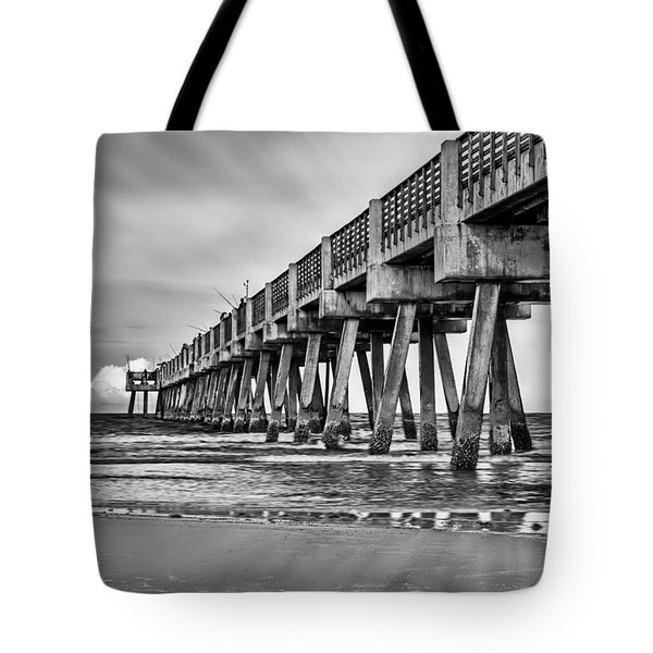 Jacksonville Beach Pier In Black And White Tote Bag