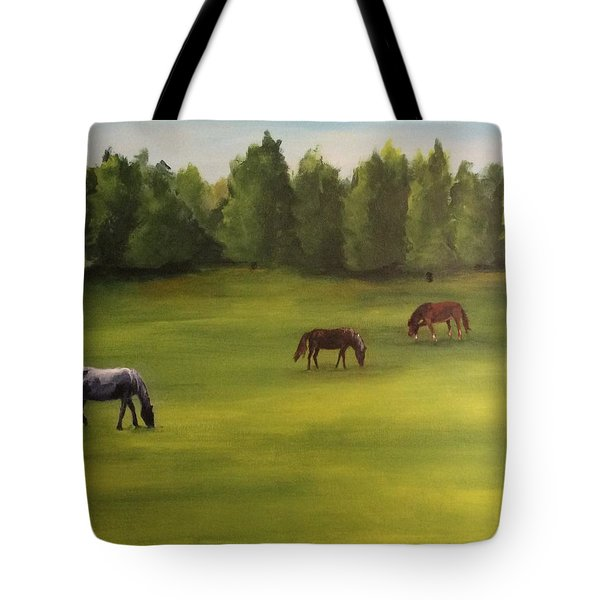Tote Bag featuring the painting Jacob's Pasture by Ellen Canfield