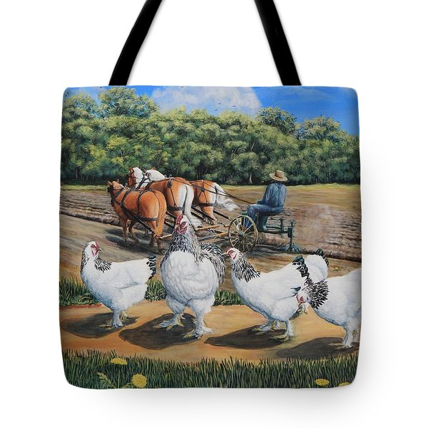 Jacobs Plowing And Light Bramah Chickens Tote Bag
