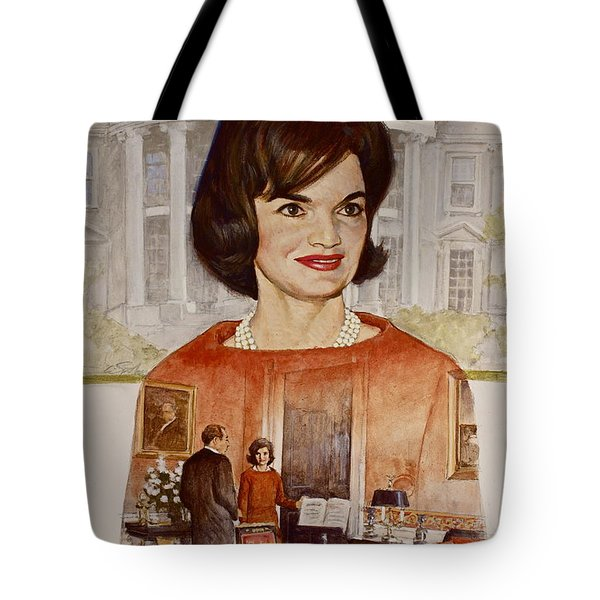 Tote Bag featuring the painting Jacqueline Kennedy Onassis  by Cliff Spohn