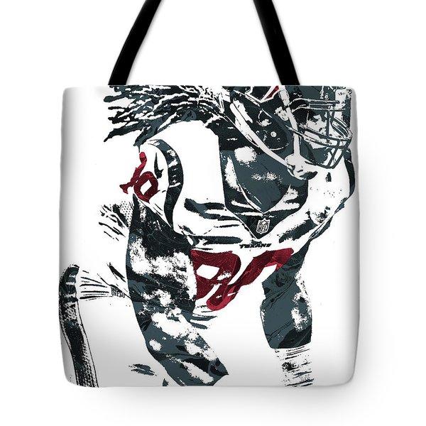 Tote Bag featuring the mixed media Jadeveon Clowney Houston Texans Pixel Art by Joe Hamilton