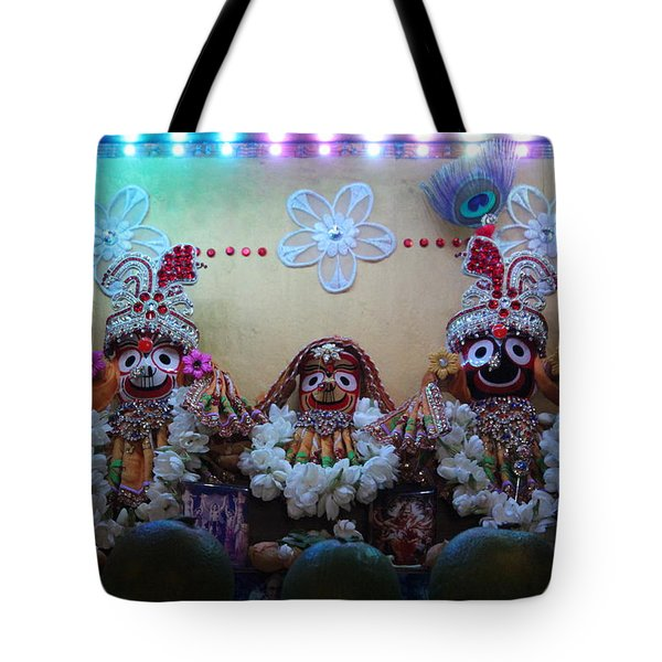Jagannath, Baladev And Subhadra At Govinda's, Mumbai Tote Bag