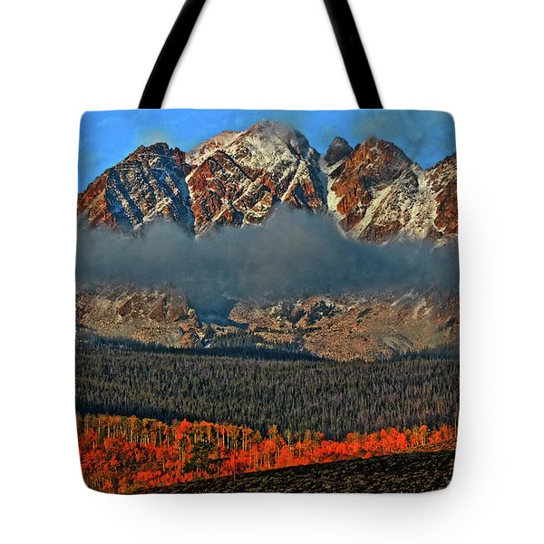 Tote Bag featuring the photograph Jagged Peaks Fall by Scott Mahon