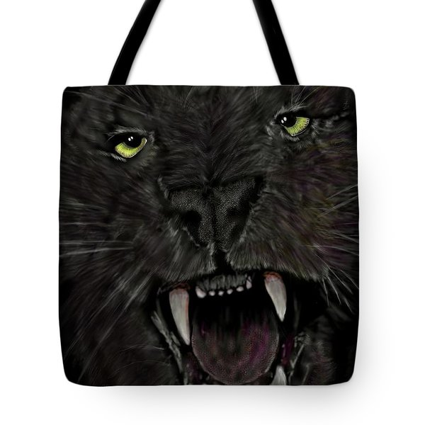 Tote Bag featuring the digital art Jaguar by Darren Cannell
