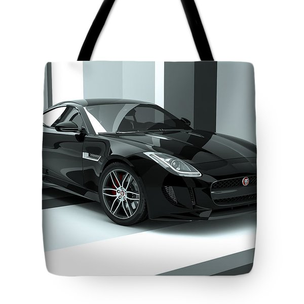 Jaguar F-type - Black Retro Tote Bag