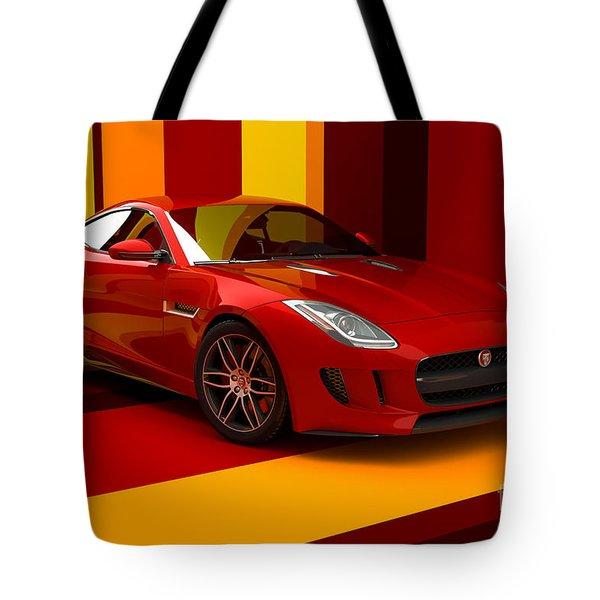 Jaguar F-type - Red Retro Tote Bag