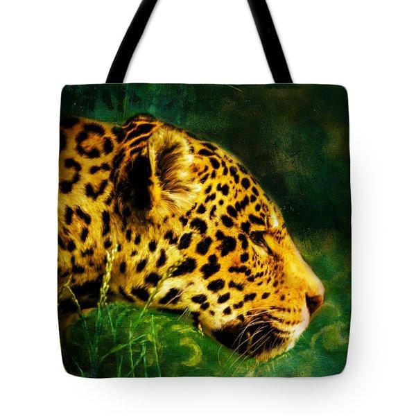 Jaguar In The Grass Tote Bag