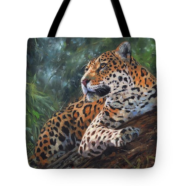 Tote Bag featuring the painting Jaguar In Tree by David Stribbling