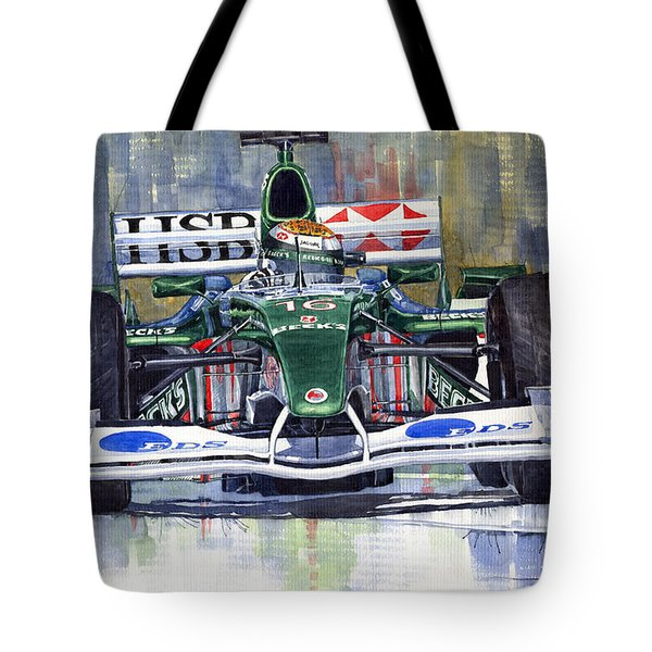 Jaguar R3 Cosworth F1 2002 Eddie Irvine Tote Bag by Yuriy  Shevchuk