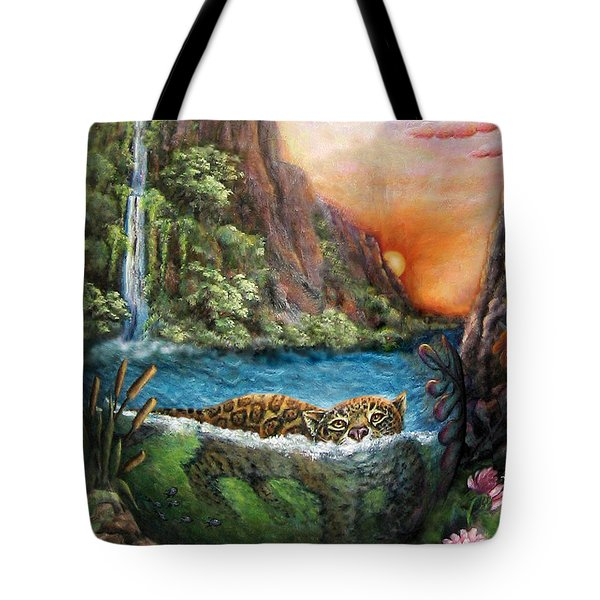 Jaguar Sunset  Tote Bag