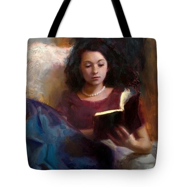 Jaidyn Reading A Book 1 - Portrait Of Young Woman - Girls Who Read - Books In Art Tote Bag