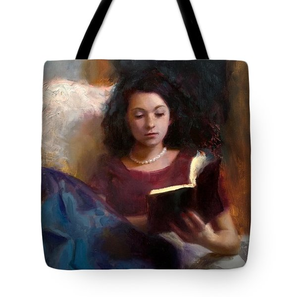 Tote Bag featuring the painting Jaidyn Reading A Book 1 - Portrait Of Young Woman by Karen Whitworth