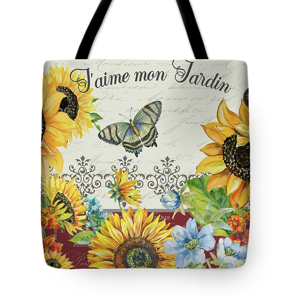 Tote Bag featuring the painting Jaime Mon Jardin-jp3990 by Jean Plout