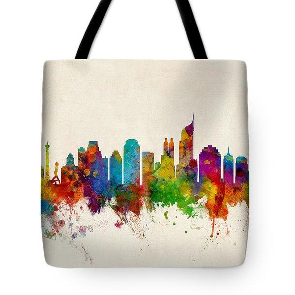 Jakarta Skyline Indonesia Bombay Tote Bag