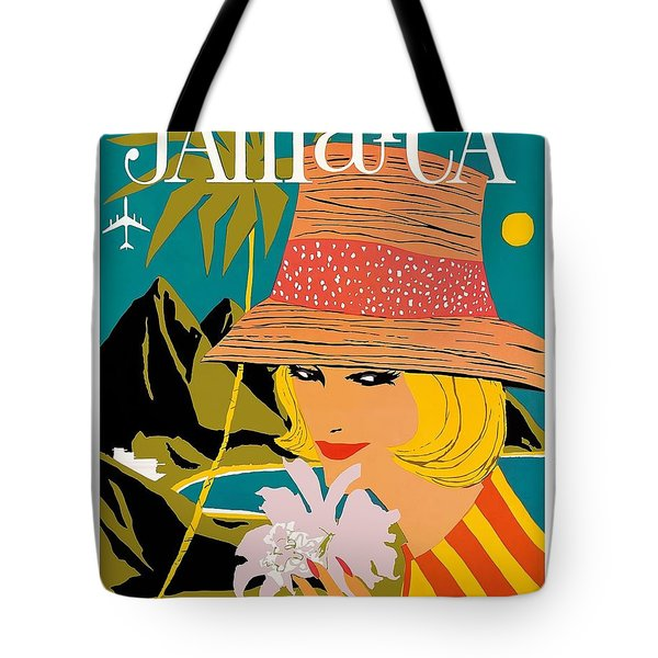 Jamaica Woman With Orchid Vintage Airline Travel Poster Tote Bag
