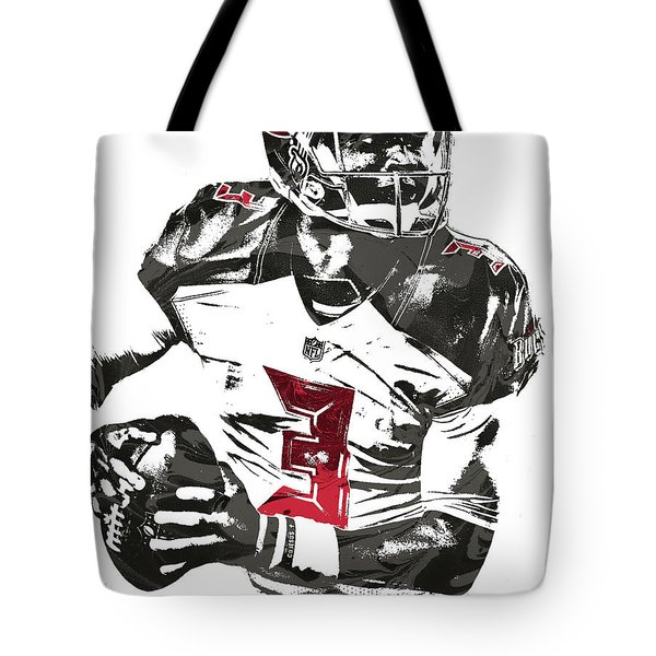 Tote Bag featuring the mixed media Jameis Winston Tampa Bay Buccaneers Pixel Art by Joe Hamilton