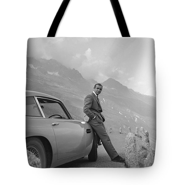 James Bond And His Aston Martin Tote Bag