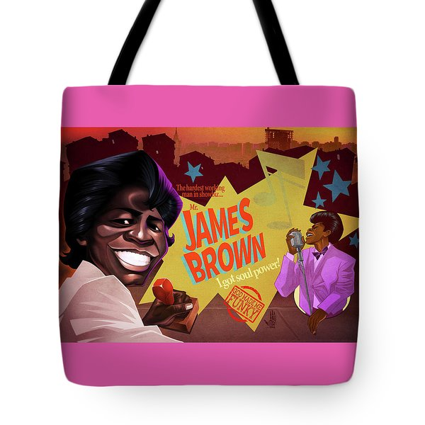 Tote Bag featuring the drawing James Brown by Nelson Dedos Garcia