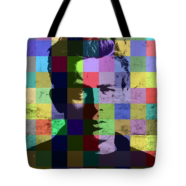 James Dean Actor Hollywood Pop Art Patchwork Portrait Pop Of Color Tote Bag by Design Turnpike