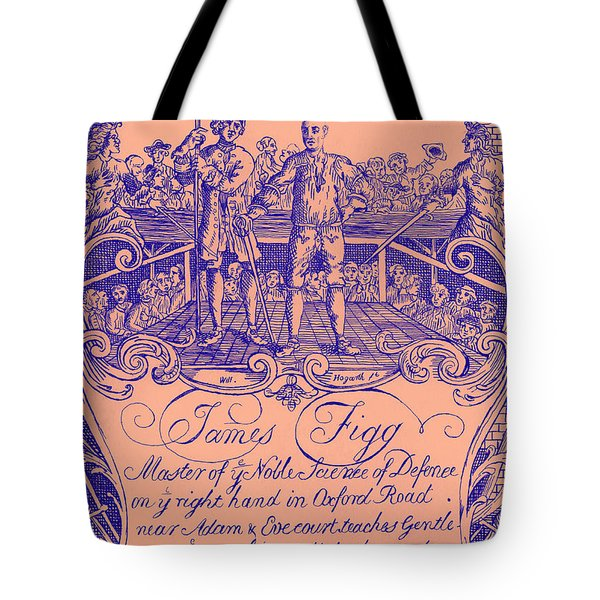 James Figg Advertisement By William Hogarth, Colorized Tote Bag