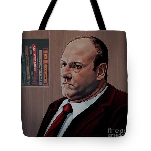 James Gandolfini Painting Tote Bag by Paul Meijering