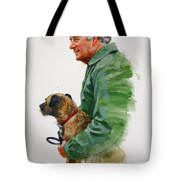 Tote Bag featuring the painting James Herriot And Bodie by Cliff Spohn