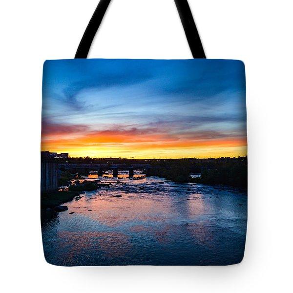 James River Sunset Tote Bag