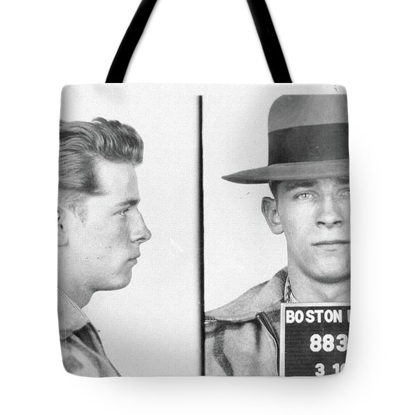 Tote Bag featuring the mixed media James Whitey Bulger Mug Shot by Dan Sproul