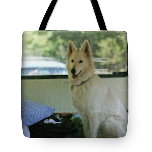Jane Riding In The Bus Camping At Cape Lookout Tote Bag