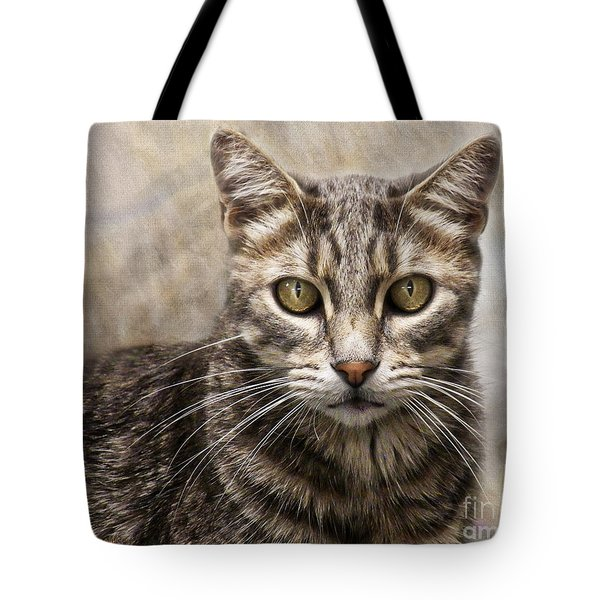 Tote Bag featuring the digital art Janie's Kitty by Rhonda Strickland