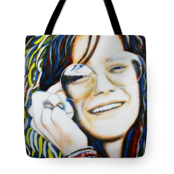 Tote Bag featuring the painting Janis Joplin Pop Art Portrait by Bob Baker
