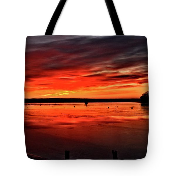 January Sunrise Onset Pier Tote Bag
