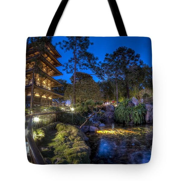 Japan Epcot Pavilion By Night. Tote Bag