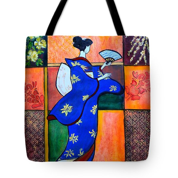Japan Geisha Kimono Colorful Decorative Painting Ethnic Gift Decor Tote Bag